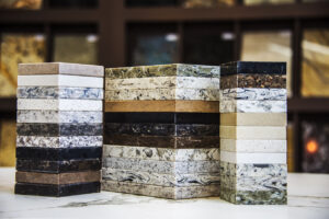 image of stone sample slabs piled up